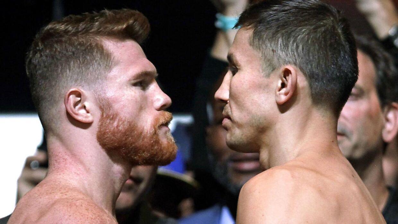 Canelo Alvarez og Gennady Golovkin stirrer hinanden i øjnene inden deres første kamp i sommer. Nu er omkampen i fare på grund af en positiv dopingtest.
