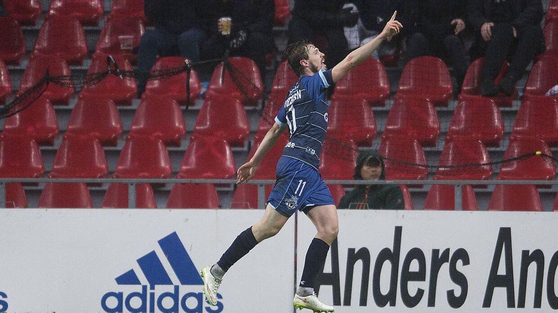 Helsingørs Nicolas Mortensen scorede til 3-3 i gårdsdagens superligakamp mod FCK i Telia Parken. FC Helsingør endte alligevel med at tabe 3-4 efter et mål i de døende minutter.