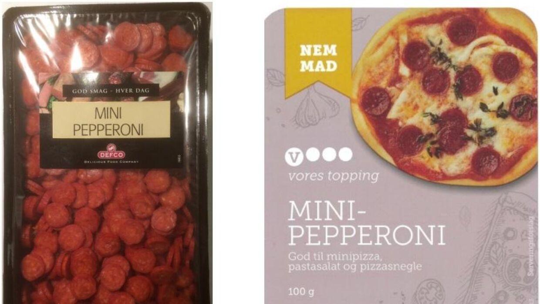 Det er disse to typer pepperoni, som Fødevarestyrelsen nu tilbagekalder på grund af fund af metalstykker.