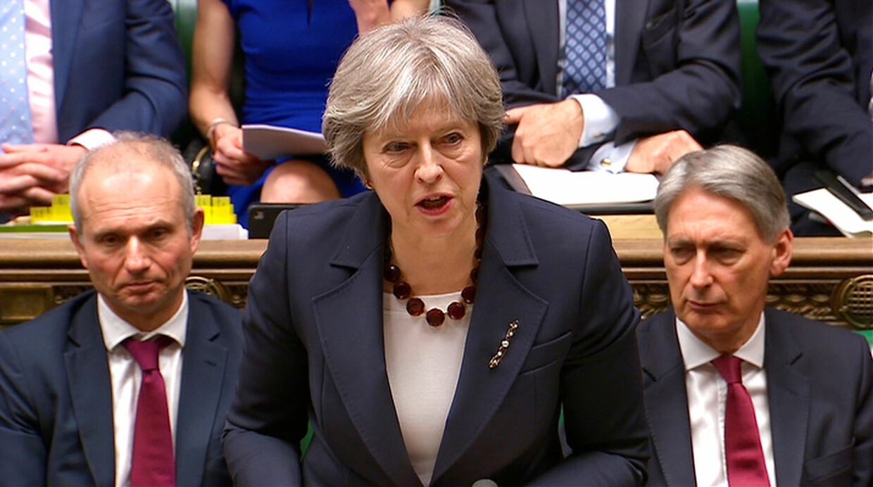 Her ses Storbritanniens primierminister Theresa May (arkivfoto).
