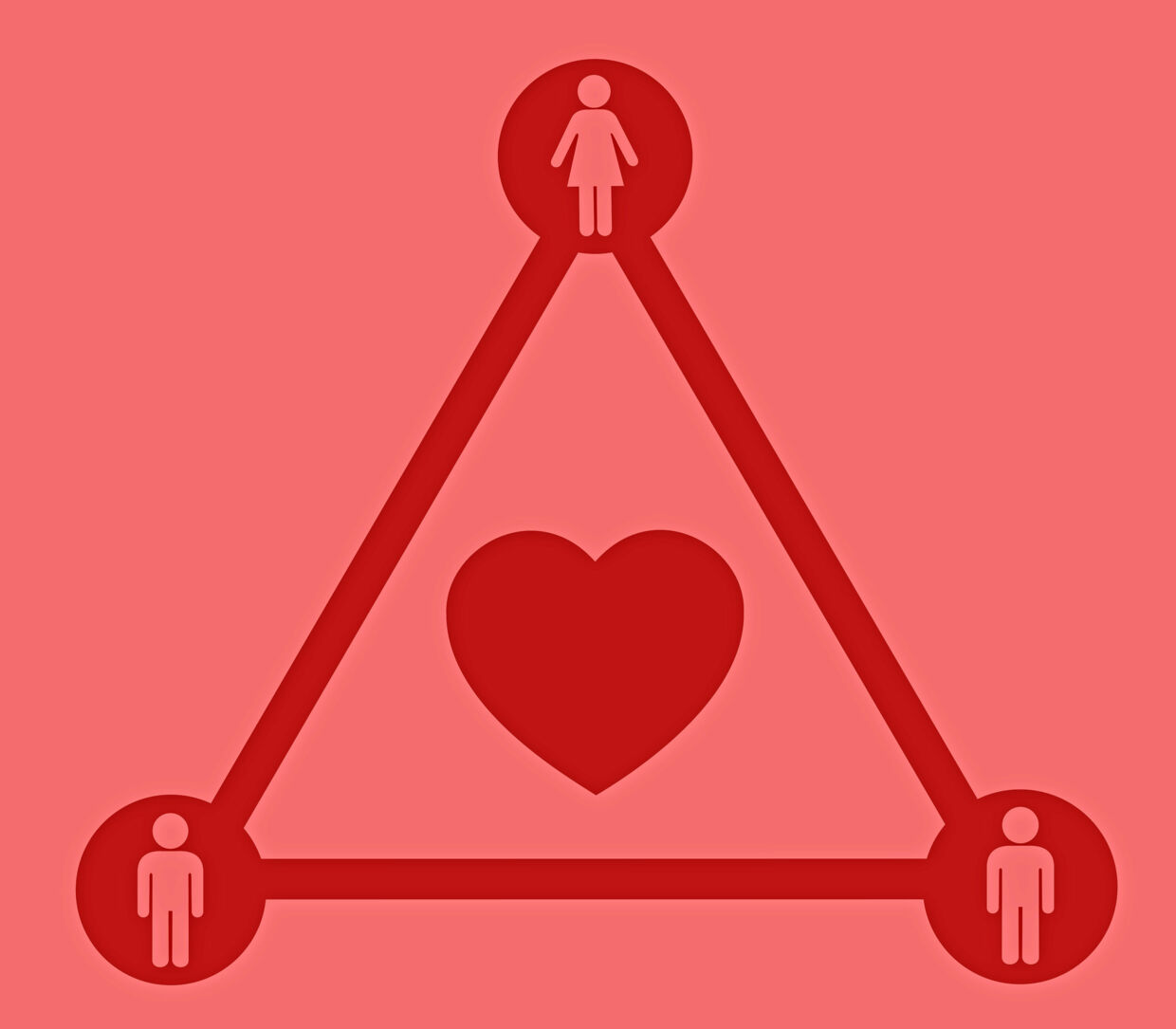 Love triangle - violation of monogamy - cheating and infidelity, polygamy and polyamory, having mistress and lover, jealousy and sharing beloved person. Simple vector illustration
