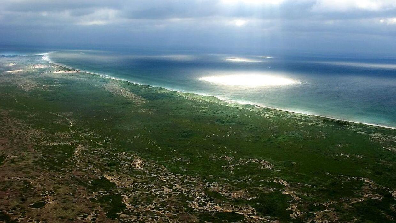 De danske småøer, Anholt. Ørkenen øverst i billedet, nordspidsen af øen.