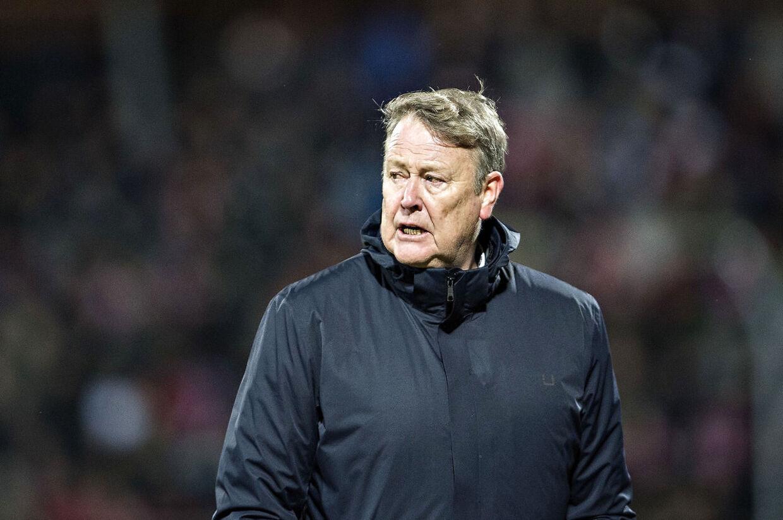 Danmarks landstræner Åge Hareide i venskabskampen Danmark - Chile på Aalborg Stadion, tirsdag den 27. marts 2018