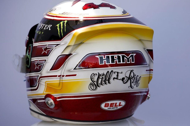 Således så Lewis Hamiltons hjelm ud under weekends granprix i Melbourne.