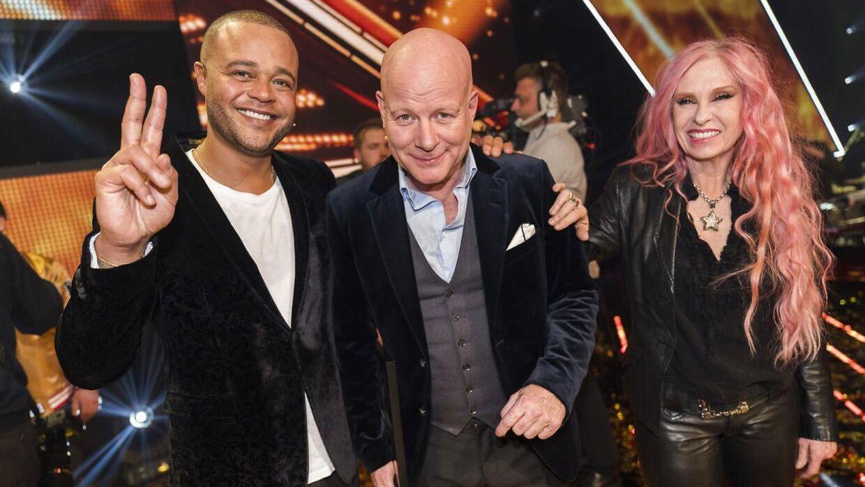 De tre dommere i den sidste udgave af X Factor, Remee, Thomas Blachman og Sanne Salomonsen.