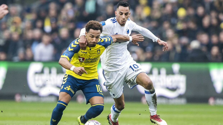 Hany Mukhtar (tv.) sikrede Brøndby sejren i de døende minutter.