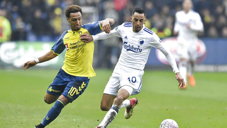 Hany Mukhtar scorede det afgørende mål til 2-1, da Brøndby for fjerde gang i træk slog FC København i søndagens lokalderby.