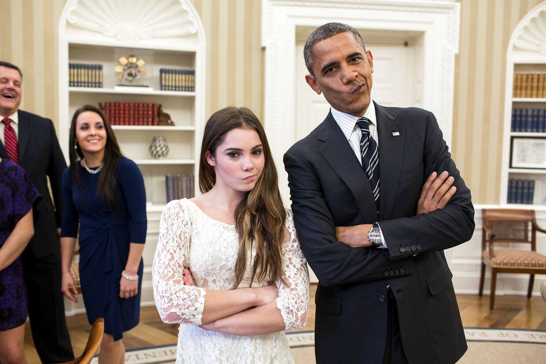 McKayla Maroney var efter OL i 2012 på besøg hos daværende præsident Barack Obama, hvor den specielle grimasse blev gengivet.