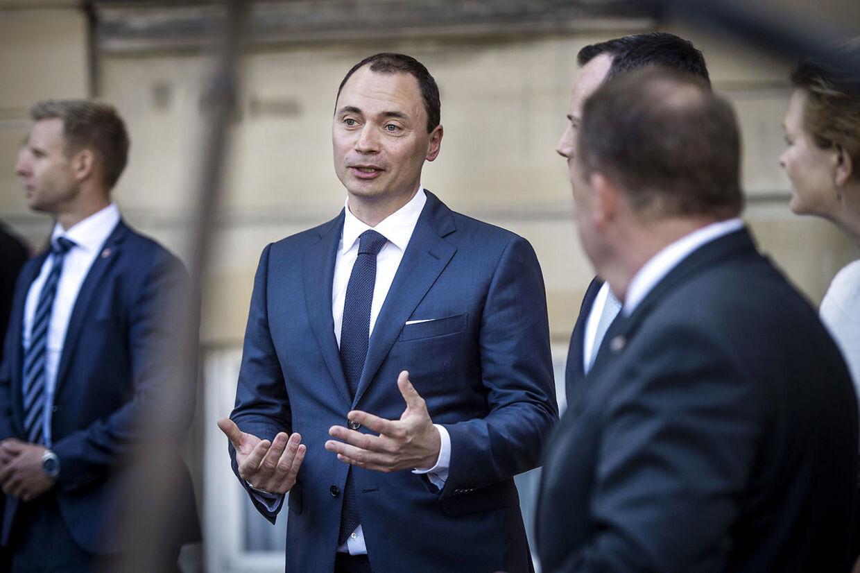 Tommy Ahlers ved dagens præsentation af ham selv som ny minister i Lars Løkke Rasmussens regering.