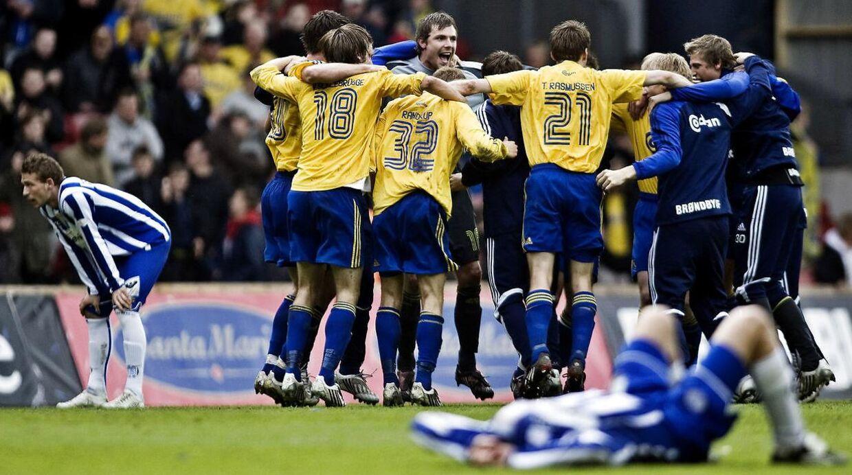 Brøndby-spillerne, da de fejrede sejren i pokalfinalen i 2008