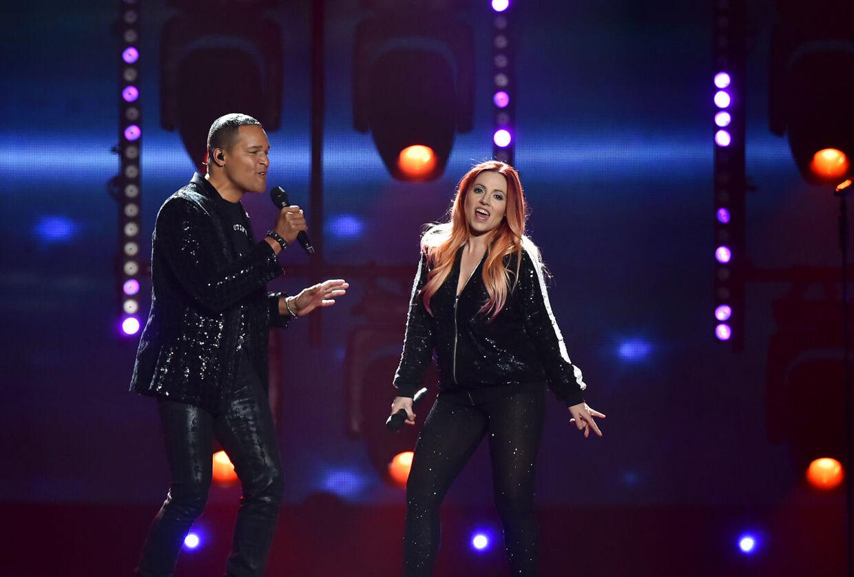 ARKIVFOTO af Valentina Monetta og Jimmie Wilson fra Eurovision 2017.