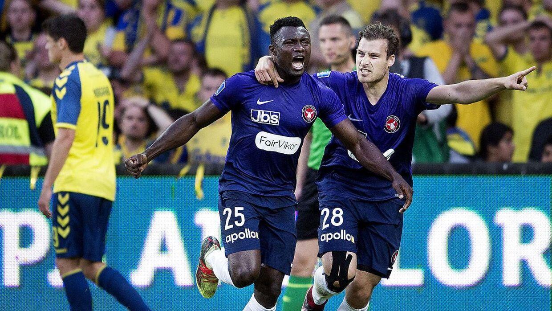 FC Midtjyllands Bubacarr Sanneh stummede hjemmepublikummet på Brøndby Stadion, da han i det 83. minut scorede sejrsmålet til 1-0 over Brøndby.