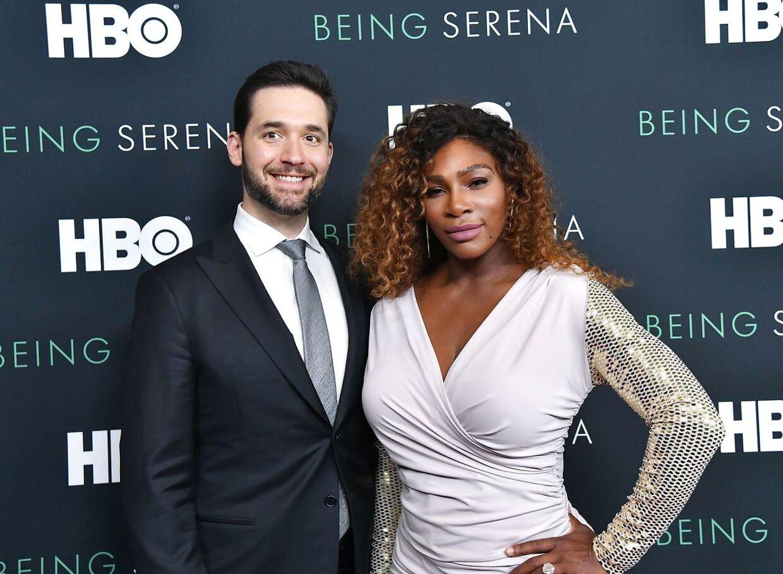 Alexis Ohanian og Serena Williams til premieren på 'Being Serena'.
