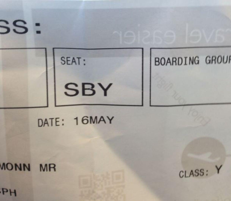 På den 13-åriges boardingkort fremgår det, at han var udvalgt til ikke at blive boardet. Privatfoto