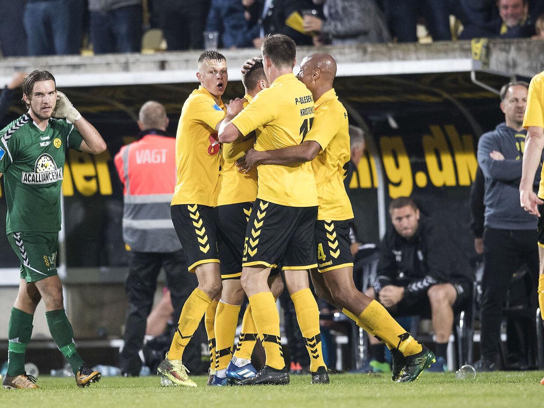 AC Horsens scorede fem minutter inde i overtiden mod Brøndby i maj sidste år, hvilket kostede Vestegn-holdet guldmedaljerne.