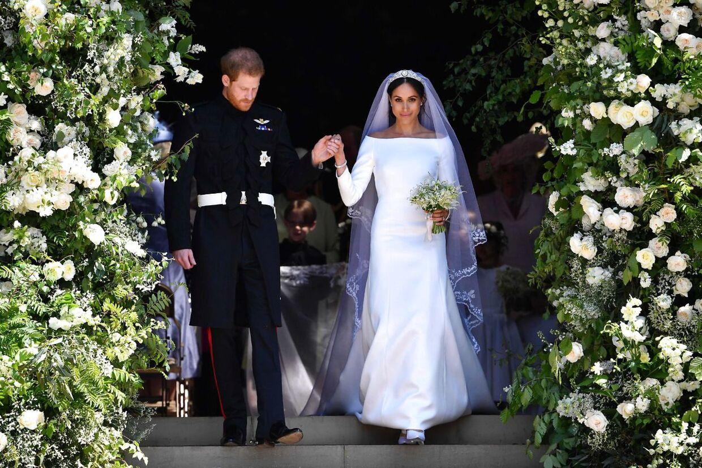 Prins Harry og Meghan Markle foran Sankt George-kapellet i Windsor.