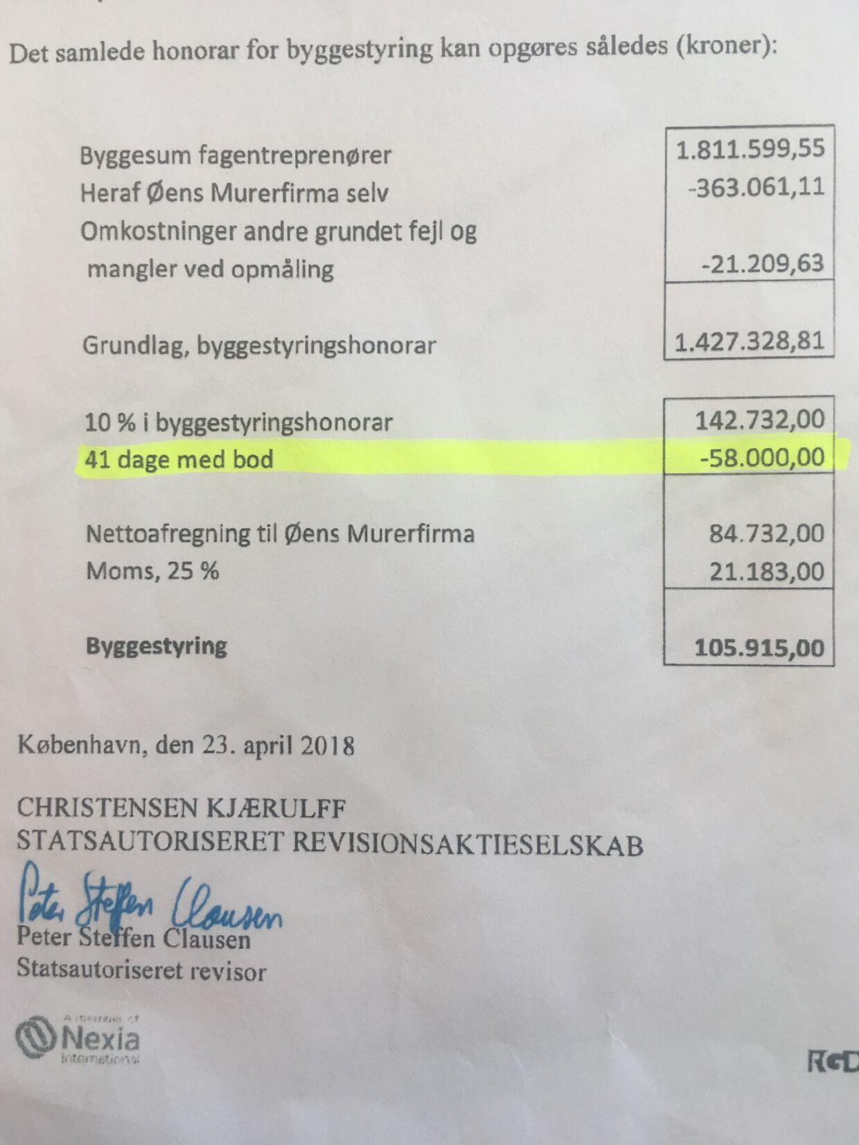Anna Mee Allerslevs advokat har afleveret dette revisionsnotat over byggesagen til brug for undersøgelsen af Øens Murerfirmas rolle ved renoveringen af hendes lejlighed. BT har fået undersøgelsen via aktindsigt.