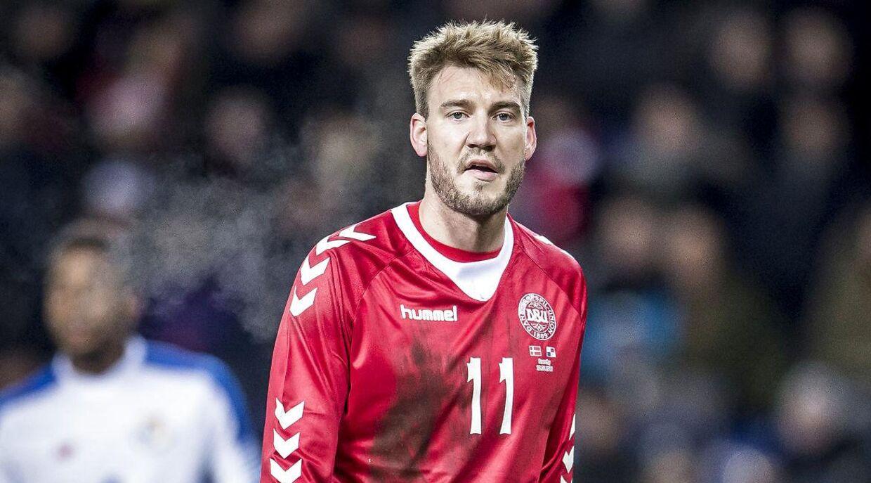 Danmarks Nicklas Bendtner (under venskabskampen mellem Danmark og Panama på Brøndby Stadion.