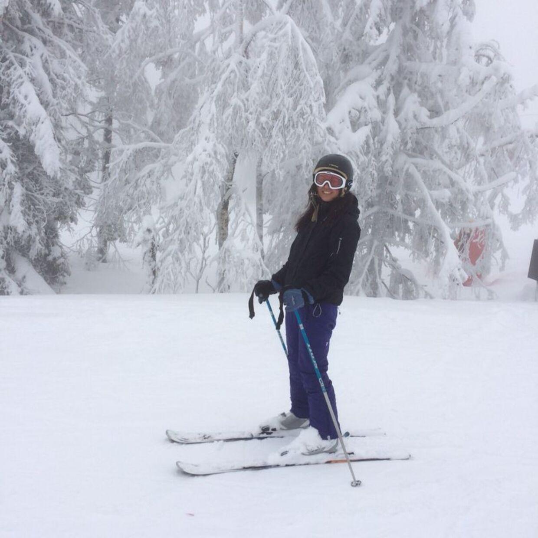 En dag på ski, mens Tina Myung Povlsen stadig boede i udlandet med sin kæreste og hans fireårige datter. Privatfoto.