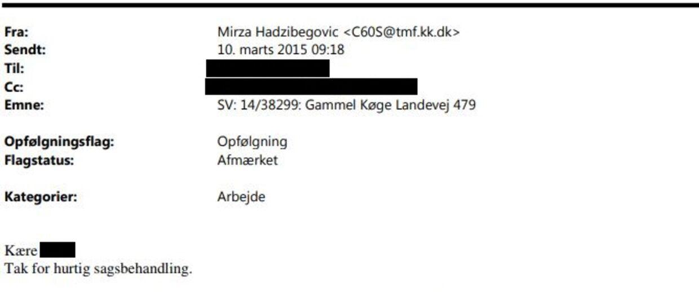 Den kommunale chef i Københavns Kommune Mirza Hadzibegovic takkede gentagne gange sin tidligere kollega i Hvidovre Kommunes byggeafdeling for hurtig sagsbehandling, da han hjalp en privat kunde med at få en byggetilladelse.