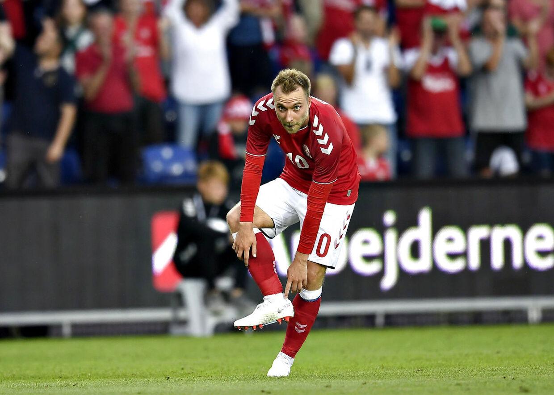 Christian Eriksen scorede i den sidste VM-testkamp mod Mexico. (Foto: Lars Møller/Ritzau Scanpix 2018)