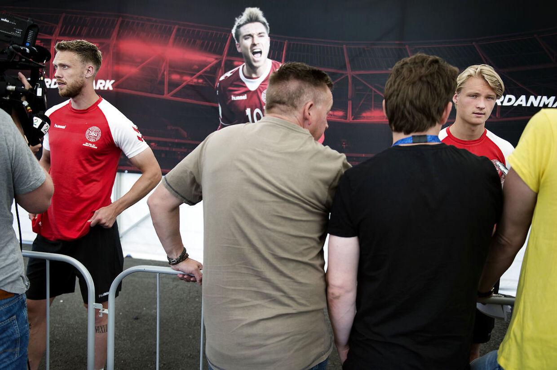 Nicolai Jørgensen og Kasper Dolberg kæmper om pladsen som frontangriber på det danske VM-hold. (Foto: Liselotte Sabroe/Scanpix 2018)