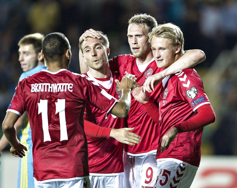 Kasper Dolberg scorede sit hidtil eneste landskampsmål i Kazakhstan sidste sommer. (Foto: Henning Bagger/Scanpix 2017)