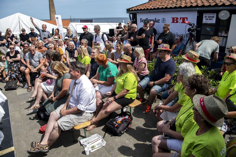 En klar overvægt af FOA-medlemmer blandt publikum lørdag eftermiddag.