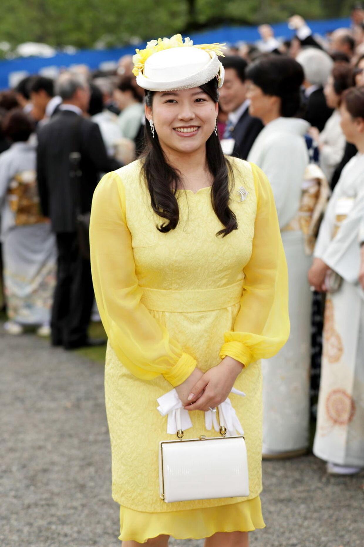 Japans prinsesse Ayako ved en havefest i april 2018.