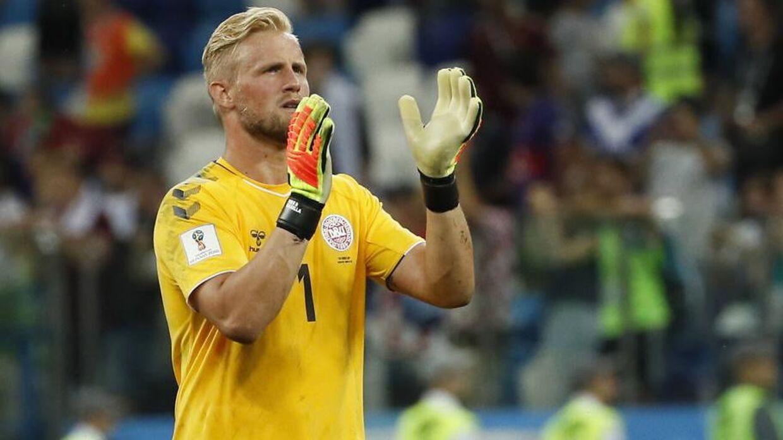 Kasper Schmeichel efter kampen mod Kroatien. Danmark tabte kampen, men Schmeichel vandt stort. Foto: EPA/ETIENNE LAURENT