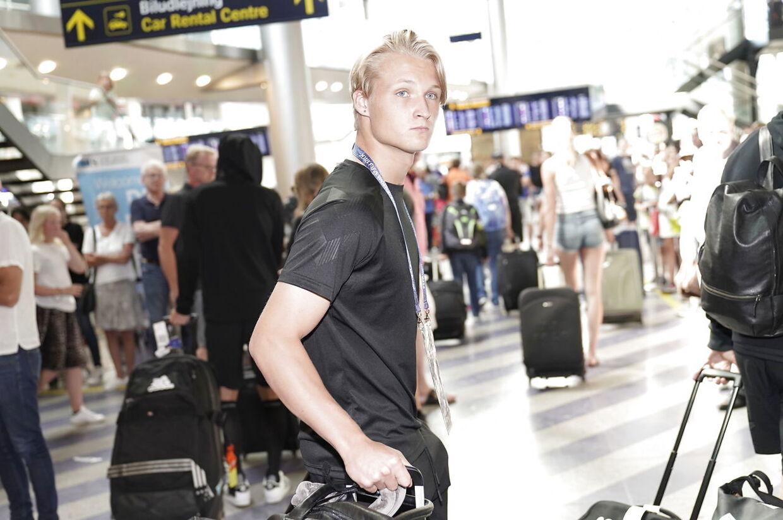 Kasper Dolberg ankommer i Københavns Lufthavn efter VM. (Foto: Martin Sylvest/Ritzau Scanpix)