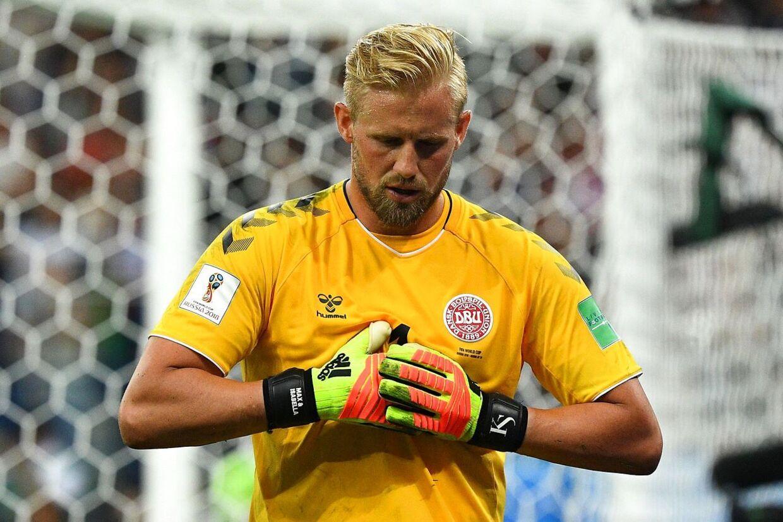 Kasper Schmeichel i kampen mod Kroatien.