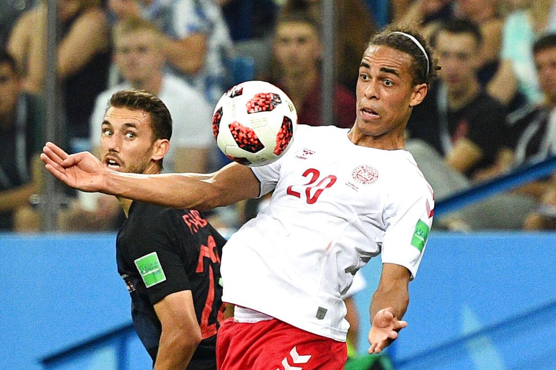 Yussuf Poulsen i VM-kampen mod Kroatien.