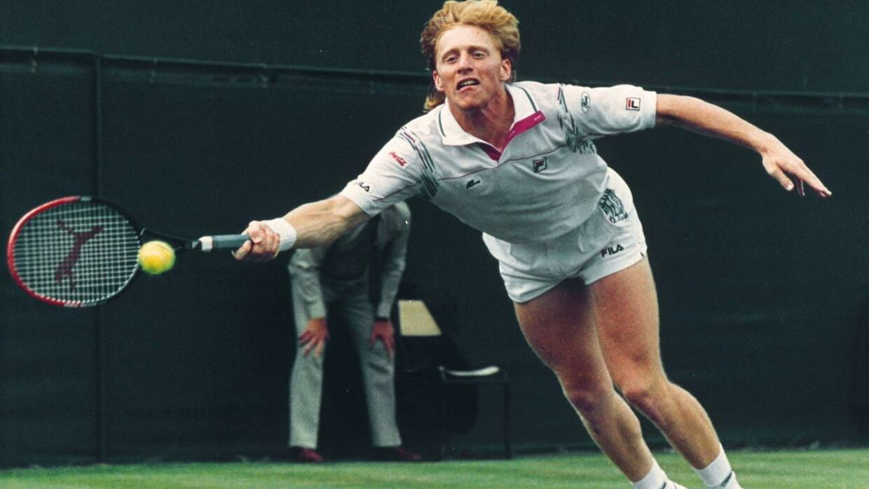 Boris Becker i aktion i 1985.