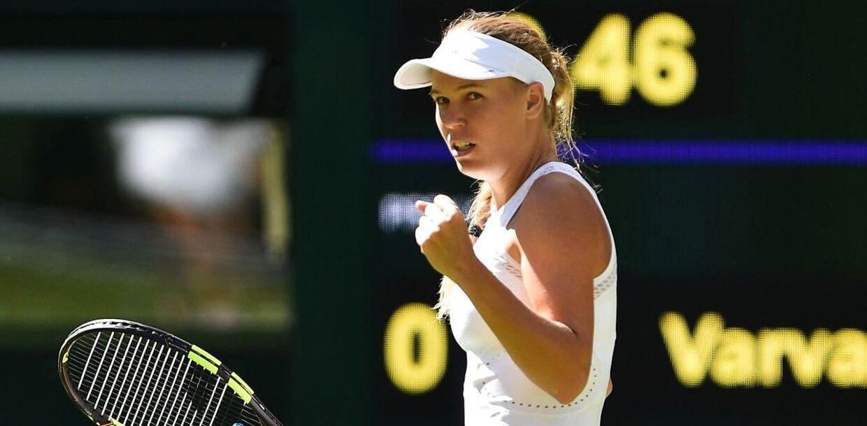 Caroline Wozniacki besejrede mandag Varvara Lepchenko i første runde af Wimbledon-turneringen. Foto: Glyn KIRK