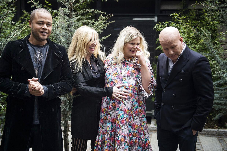 De tre dommere og værten - Remee, Sanne Salomonsen, Sofie Linde og Thomas Blachman - forud for den sidste sæson af 'X Factor' i DR-regi.