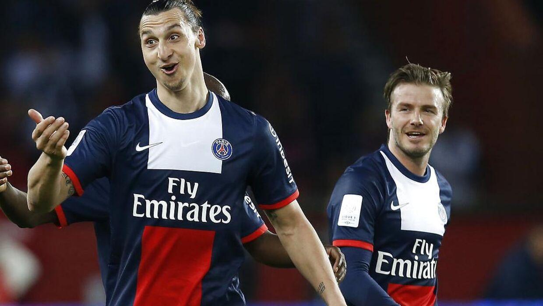 Zlatan Ibrahimovic og David Beckham i 2013, hvor de begge spillede for PSG.