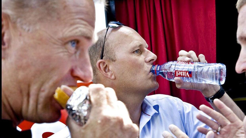 Kim Andersen (t.v.) og Bjarne Riis under Tour de France i 2008. Er der en genforening på vej? (Foto: Nils Meilvang)