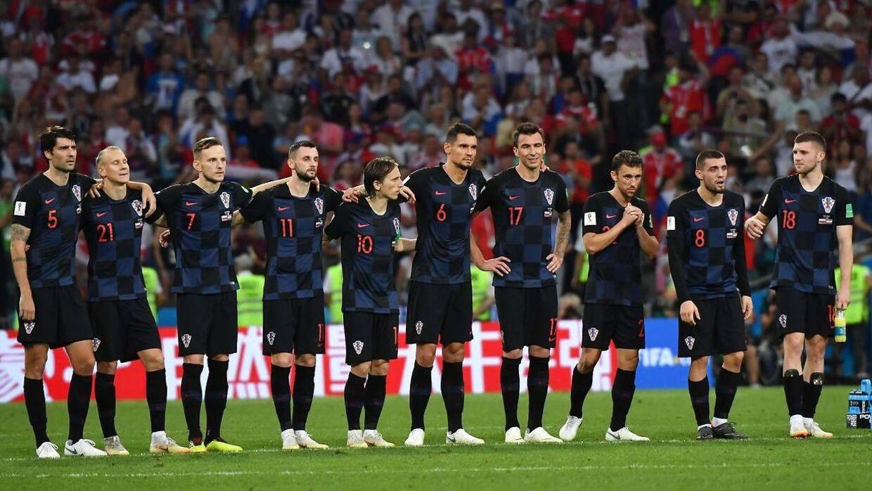 De kroatiske spillere under straffesparkskonkurrencen.