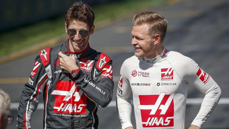 Romain Grosjean og Kevin Magnussen kæmper hårdt om at være bedste Haas-kører. (Foto: EPA/DIEGO AZUBEL)