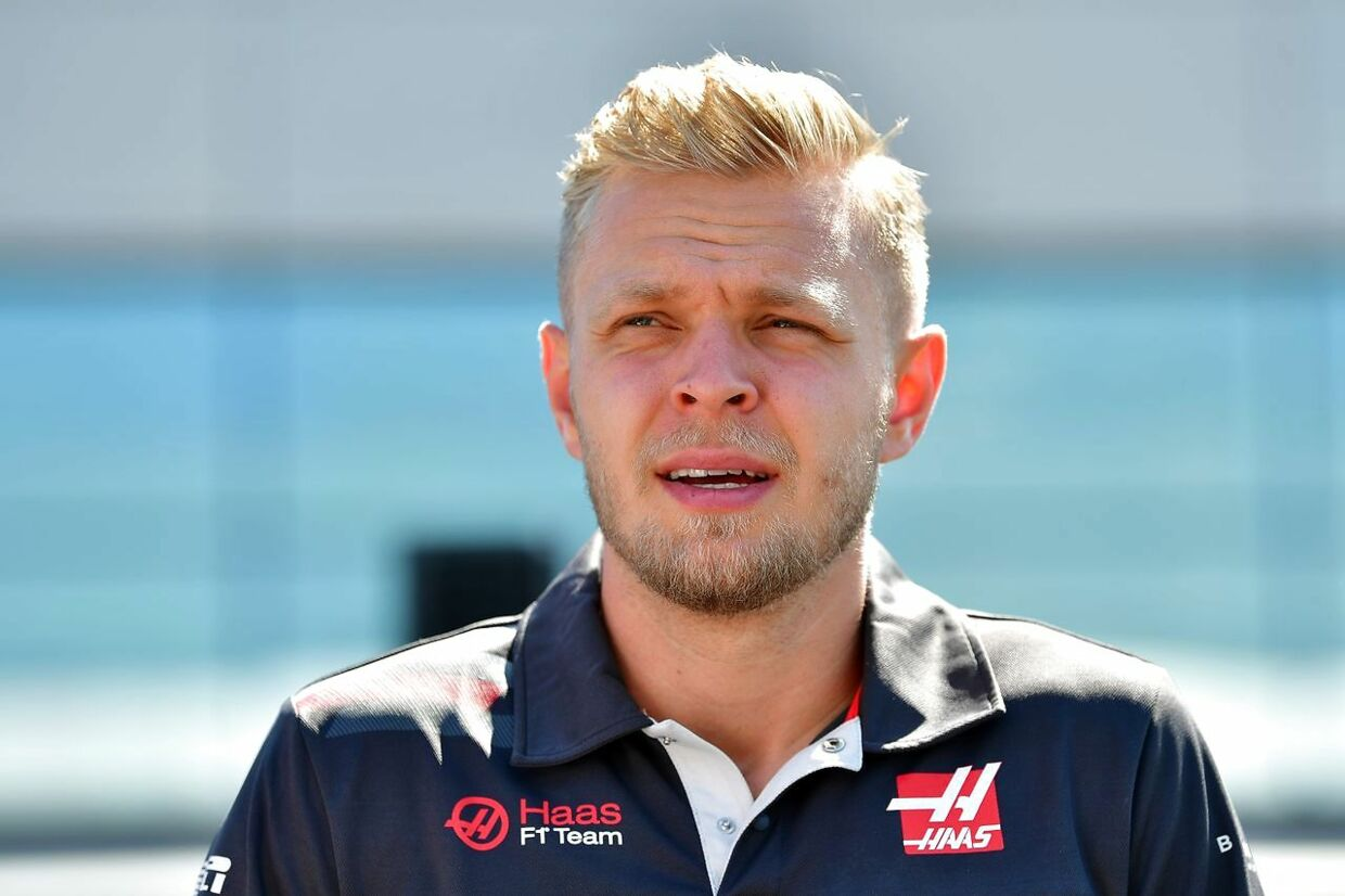 Haas F1's Danish driver Kevin Magnussen is pictured in the pit lane ahead of the British Formula One Grand Prix at the Silverstone motor racing circuit in Silverstone, central England, on July 8, 2018. / AFP PHOTO / Andrej ISAKOVIC