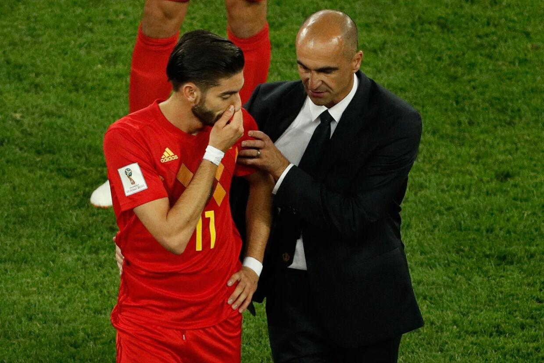 Belgiens træner, Roberto Martínez, er stolt af de belgiske spilleres præstation ved VM. Nu ser han frem mod bronzekampen på lørdag. Adrian Dennis/Ritzau Scanpix