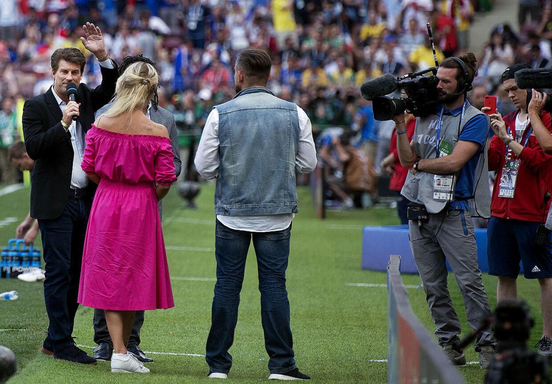 Michael Laudrup var også nede på banen i forbindelse med Danmarks VM-kamp mod Frankrig.