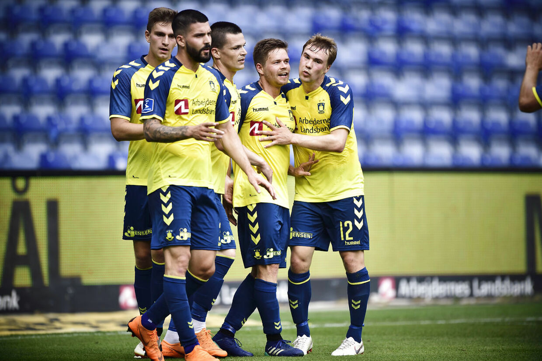 Brøndby-nyindkøbet Dominik Kaiser (nummer to fra højre). (Foto: Tariq Mikkel Khan/Ritzau Scanpix)