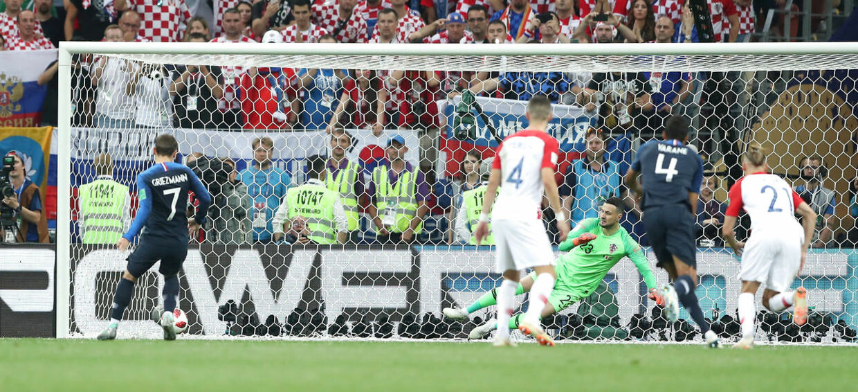 Soccer Football - World Cup - Final - France v Croatia - Luzhniki Stadium, Moscow, Russia - July 15, 2018 France's Antoine Griezmann scores their second goal from a penalty REUTERS/Carl Recine