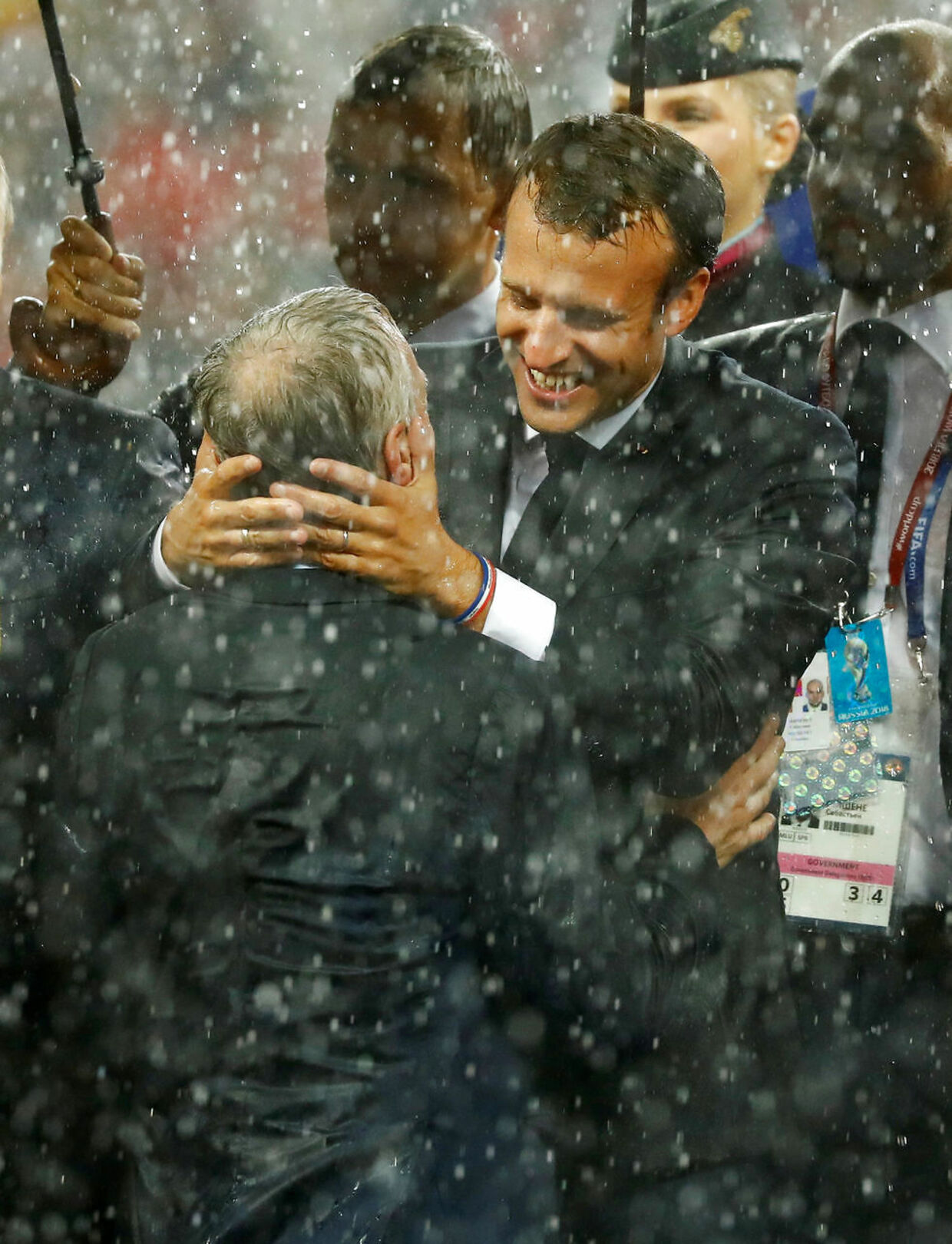 Soccer Football - World Cup - Final - France v Croatia - Luzhniki Stadium, Moscow, Russia - July 15, 2018 France coach Didier Deschamps celebrates with President of France Emmanuel Macron after winning the World Cup REUTERS/Kai Pfaffenbach