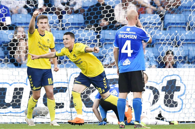 Brøndby IF's Ante Erceg (midten) scorede målet til 1-0.