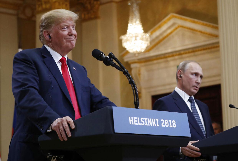 Trump og Putin under pressemødet i Helsinki. Mandag den 16. juli.