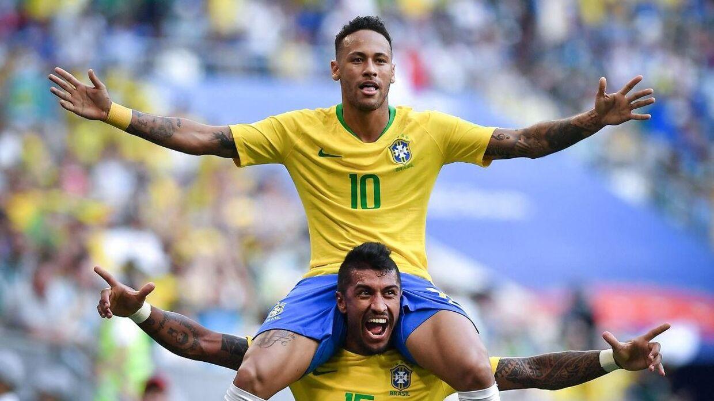 Neymar fejrer sit mål til 1-0 for Brasilien i ottendedelsfinalen mod Mexico.