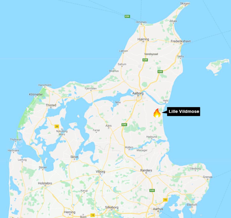 Branden begyndte ved Dokkedal nær Lille Vildmose sydøst for Aalborg.